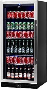 KingsBottle Beverage & Beer Glass Door Cooler- 198.4 Pounds Fridge for 300 Cans or bottles with 5 Chromed Steel Shelves – Ideal Refrigerator for Bars, Restaurants, Game Room with Noise Free Compressor - KBU-100B-SS (LHH)