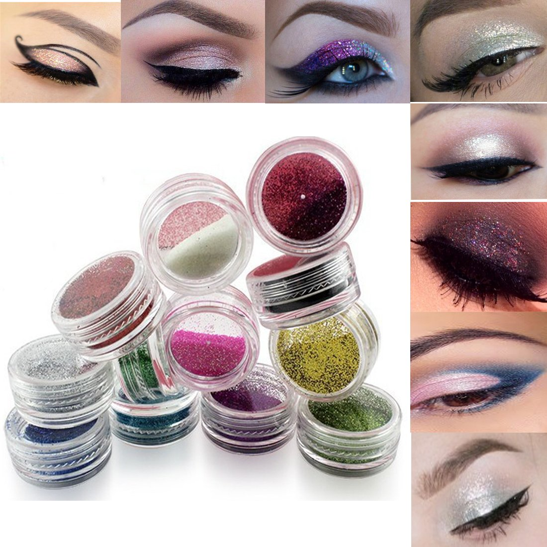 Lookathot Eye Nail Phone Loose Glitter Powder -12/24/45 Pcs Mixed Colors Shimmer Mineral Eye Shadow Dust Powder Makeup Party Cosmetic Set EP01-12-2
