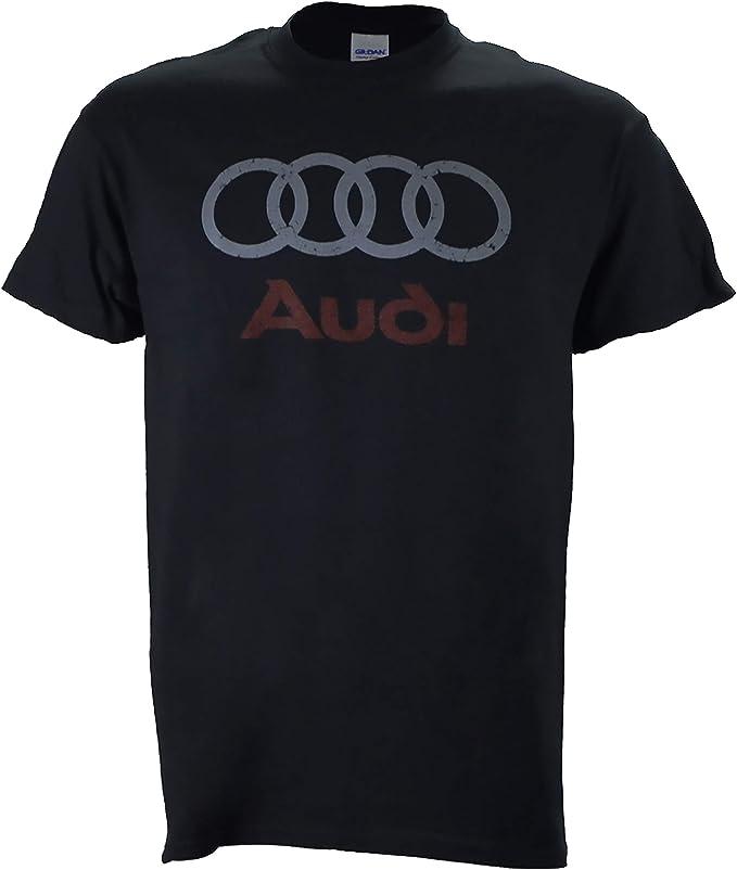 Amazon.com: Logo de Audi envejecido en una camiseta negra ...