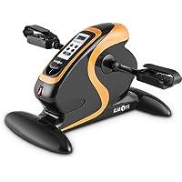 Klarfit Cycloony mini bicicleta estática portátil (70 W, indicador calorías, distancia, carga máxima 120kg, 12 velocidades, mando a distancia, pantalla LCD, tamaño compacto) - naranja