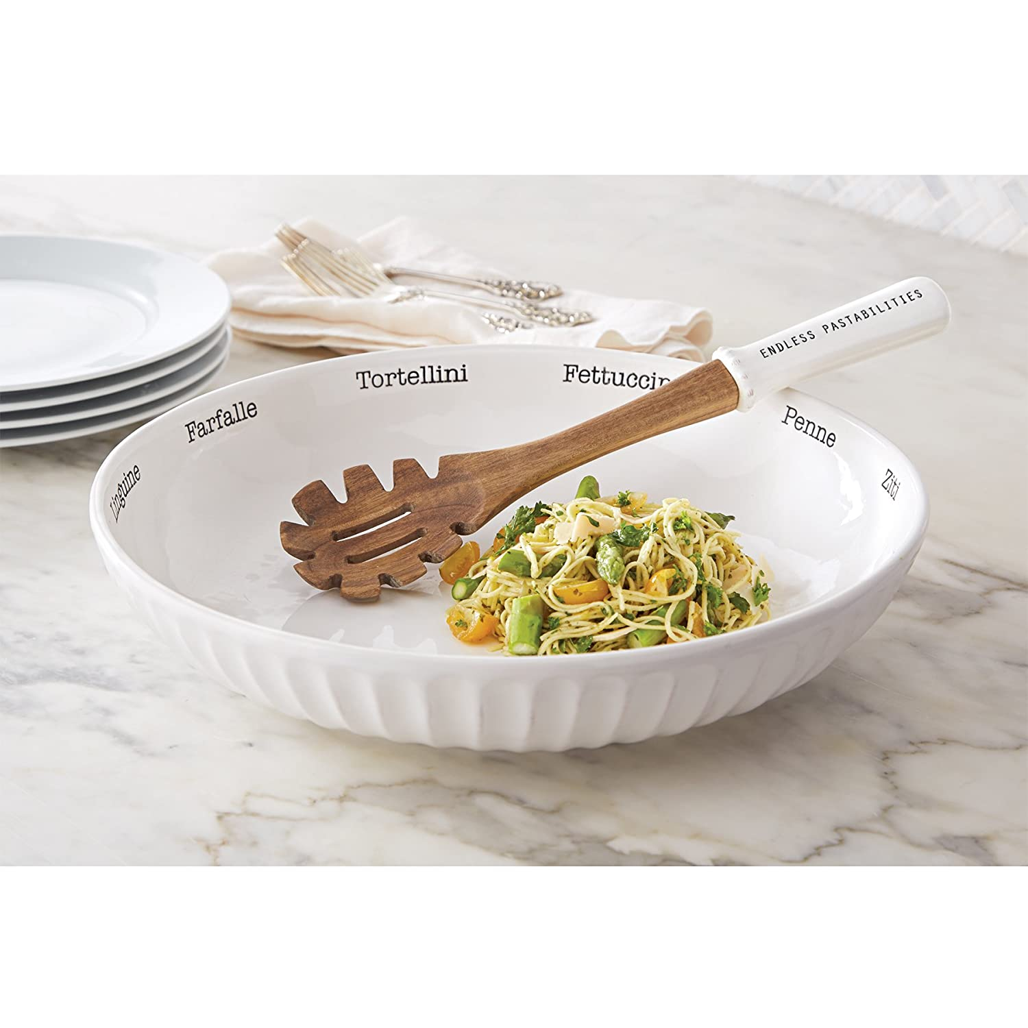 Amazon.com Mud Pie 4601044 Circa Pasta Bowl Set White Kitchen u0026 Dining  sc 1 st  Amazon.com & Amazon.com: Mud Pie 4601044 Circa Pasta Bowl Set White: Kitchen ...
