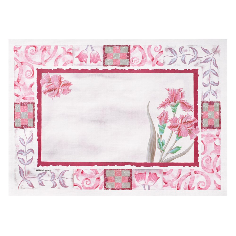 Hoffmaster 702069 Recycled Paper Fashion Placemat, 14'' Length x 10'' Width, Maroon Floral (Case of 1000)