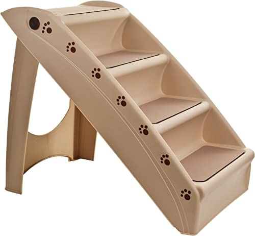 Folding Plastic Pet Stairs Durable Indoor or Outdoor 4 Step Design With Built-in Safety Features For Dogs Cats Home Travel by PETMAKER TAN