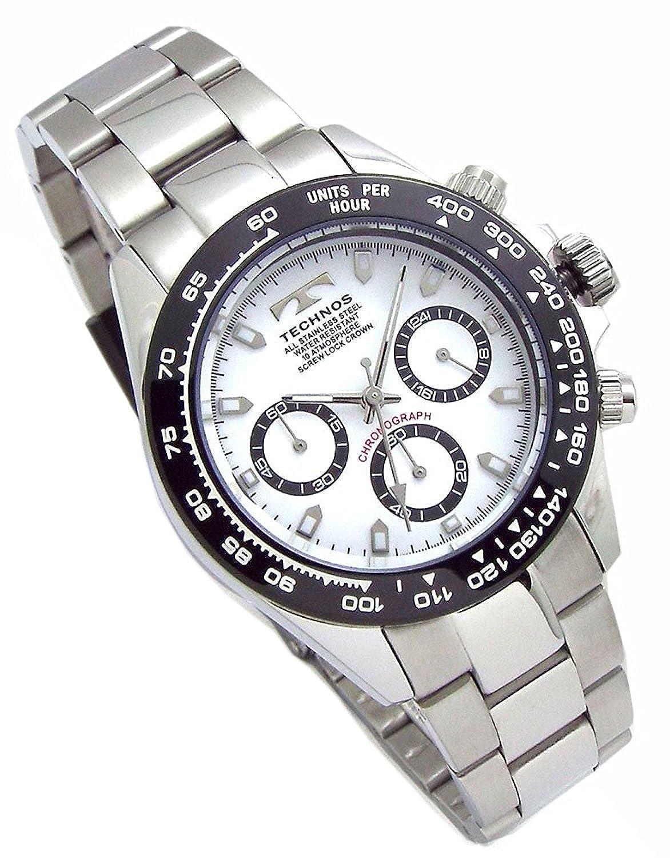 TECHNOS テクノス メンズ腕時計 クロノグラフ 10気圧防水 ブラックIPベゼル ホワイトダイヤル ベルト調節工具 レザーブレスセット SM-411-TW [並行輸入品] B076CS2MN3