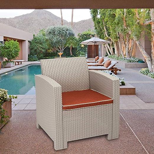 Juego de Muebles de sofá para jardín, césped, Piscina, Patio al Aire Libre, sillas, sofá al Aire Libre, sofá de jardín, Muebles de terraza, sofá de Amor, Mesa de café, 4 Piezas: