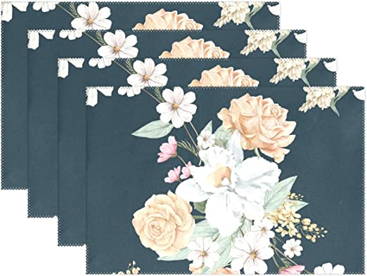Amazon Com Placemat Set Simple Table Mats Heat Resistant For Dining Table Wedding Party Table Decoration Home Decor Kitchen Accessories Restaurant Supplies 12x18 Inch Floral Dark Color Home Kitchen