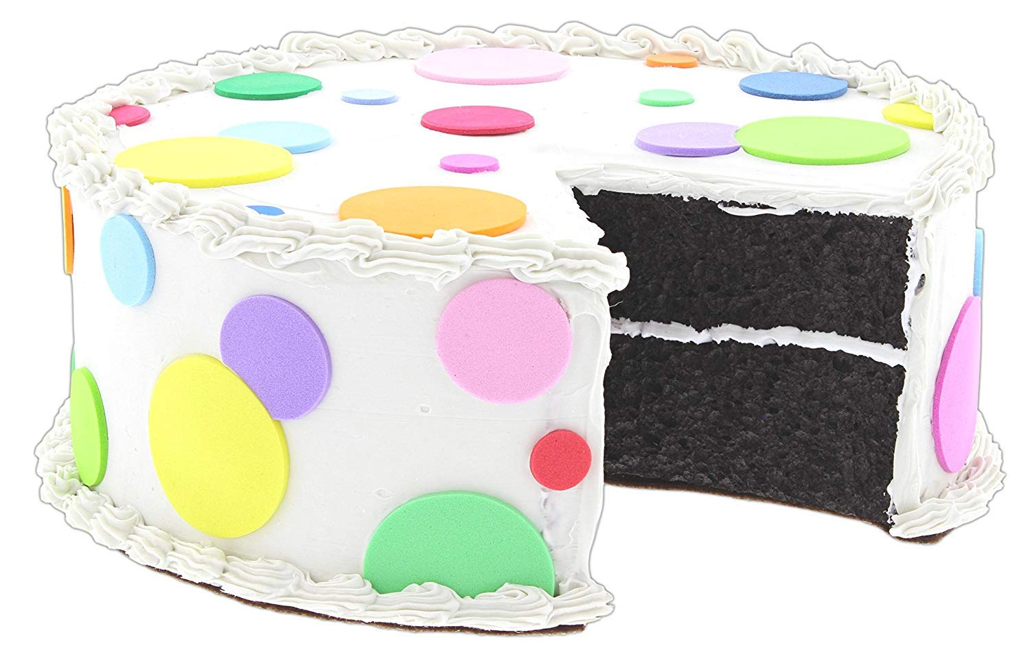 Just Dough It 10'' Replica Chocolate Cake with Polka Dot Vanilla Frosting and Slice Removed (W335A-1)