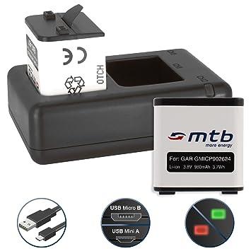 2 Baterías + Cargador doble (USB) para cámara deportiva Garmin Virb X / Virb XE Actioncam [980 mAh | 3.8V | Li-Ion] - contiene cable micro USB