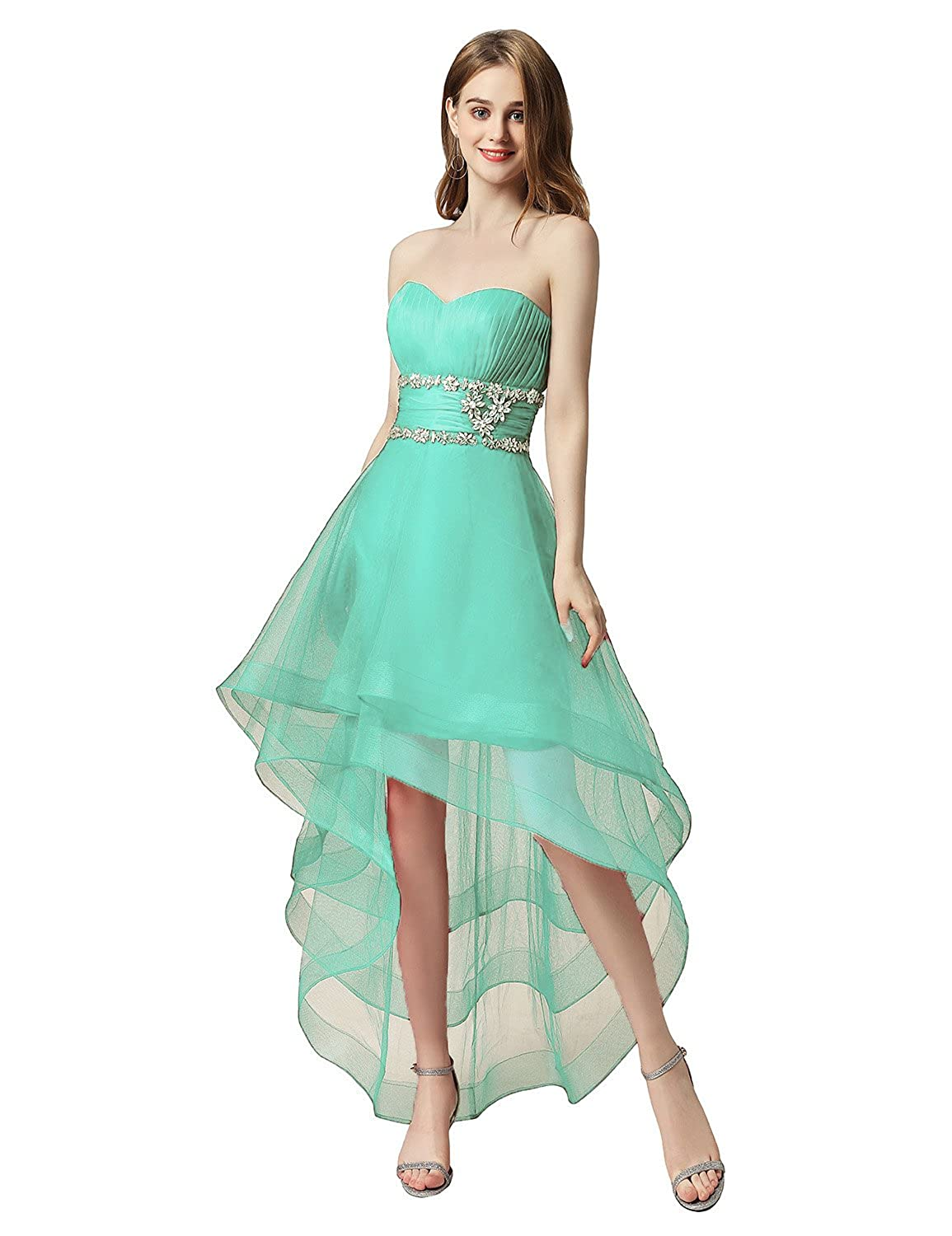 014mint Sarahbridal Women's Tulle HiLow Beading Prom Dresses Evening Homecoming Cocktail Gowns