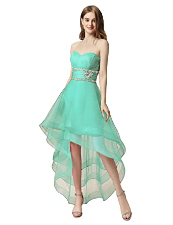 Sarahbridal Womens Tulle Hi-Low Beading Prom Dress Evening Homecoming Gown Mint US8