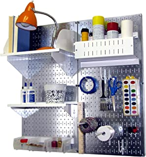 product image for Wall Control Pegboard Hobby Craft Pegboard Organizer Storage Kit with Metallic Pegboard and White Accessories
