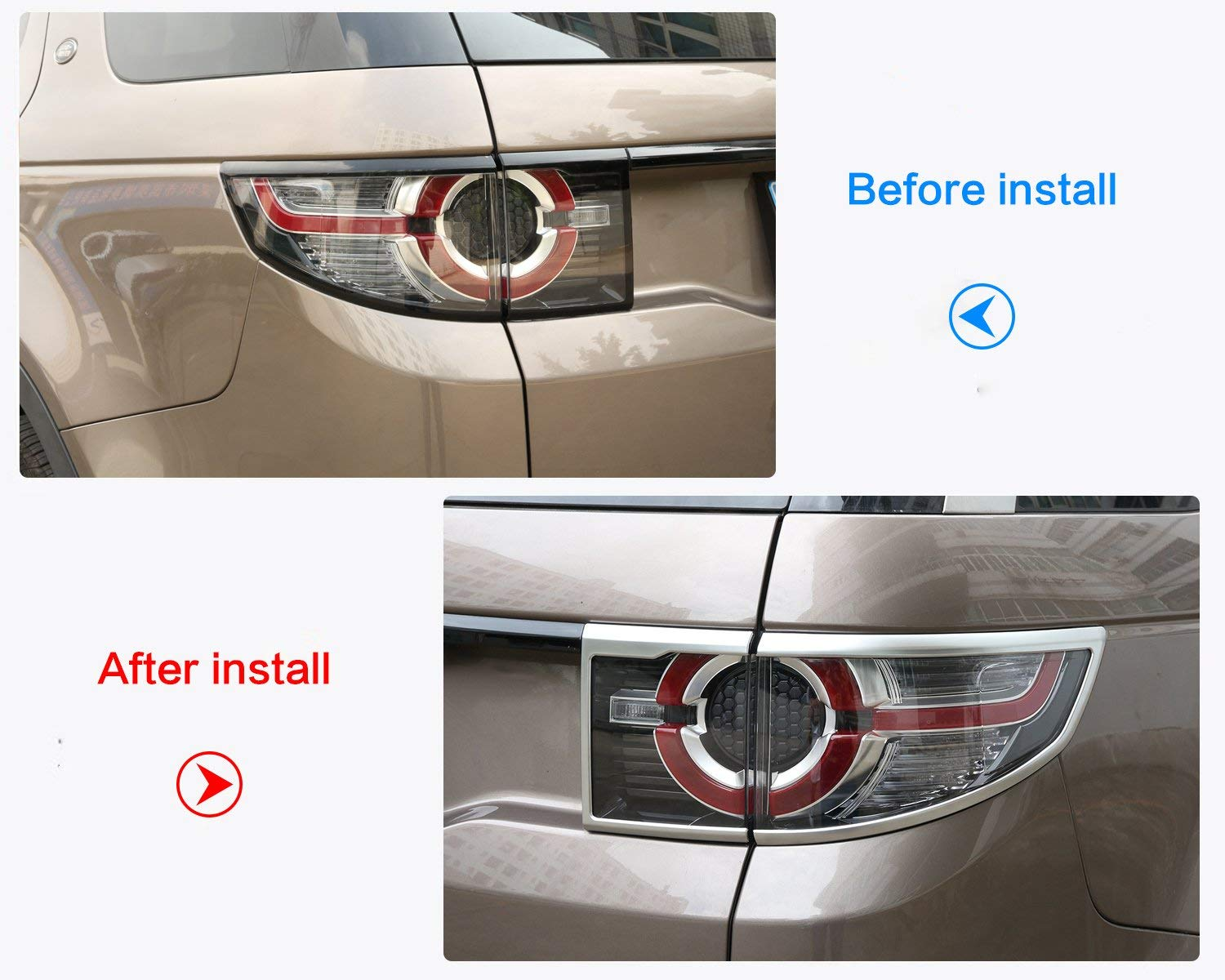 TongSheng ABS Chrome Rear Tail Lamp Frame Cover Trim 4pcs for Land Rover Discovery Sport 2015-2017