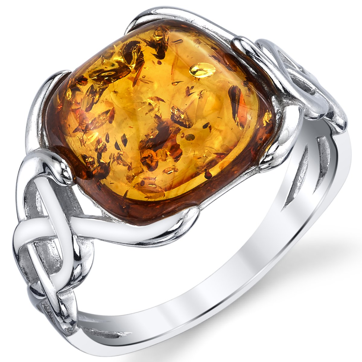 Sterling Silver Baltic Amber Irish Celtic Design Ring with Cognac Color Large Cushion Shape Stone Sizes 5 to 9