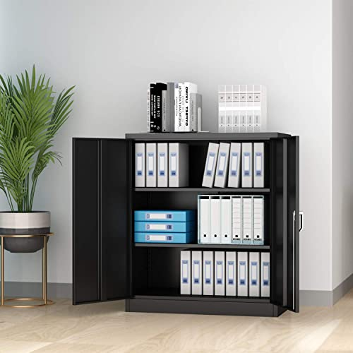 AOBABO Steel Storage Cabinet, 3 Shelf Metal Storage Cabinet with 2 Adjustable Shelves and Lockable Doors,Assemble Required Black