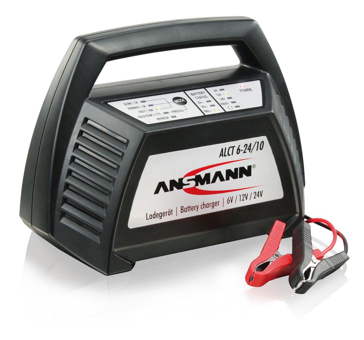 ANSMANN Autobatterie Ladegerä t ALCT 6-24/10 - Vollautomatisches Batterieladegerä t fü r Autobatterien & Bleiakkus mit 6V, 12V & 24V / 10A - Erhaltungsladegerä t ideal fü r PKW, Motorrad, Boot etc. Service Best 1001-0014