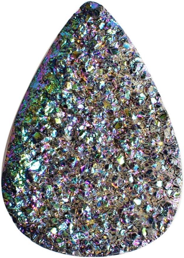 Amazing Titanium Druzy Cabujón para bisutería, tamaño 40 x 28 x 9,5 mm, colgante de piedra preciosa suelta, Druzy Suppliers AG-12501