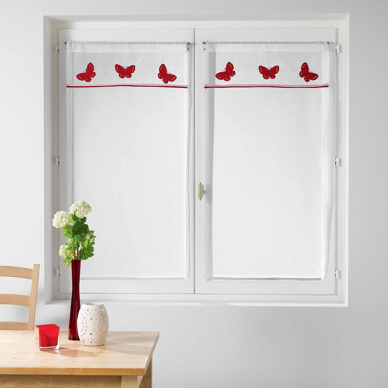 Le Jardin des Cigales 3003375 OPALINE Paire droite passe tringle Polyester Blanc 160 x 60 cm L3C
