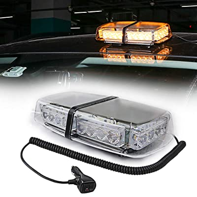 LE-JX Amber Light Roof Top Mini Bar 24 High Intensity LED 12 Volt Magnetic Strobe Amber Light Warning Truck Vehicle Law Enforcement Snow Plow Safety Flashing Emergency LED Beacon Light: Automotive