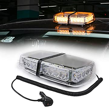 24LED Car Roof Amber Flashing Warning Light Lightbar Strobe Magnetic Beacon 12V