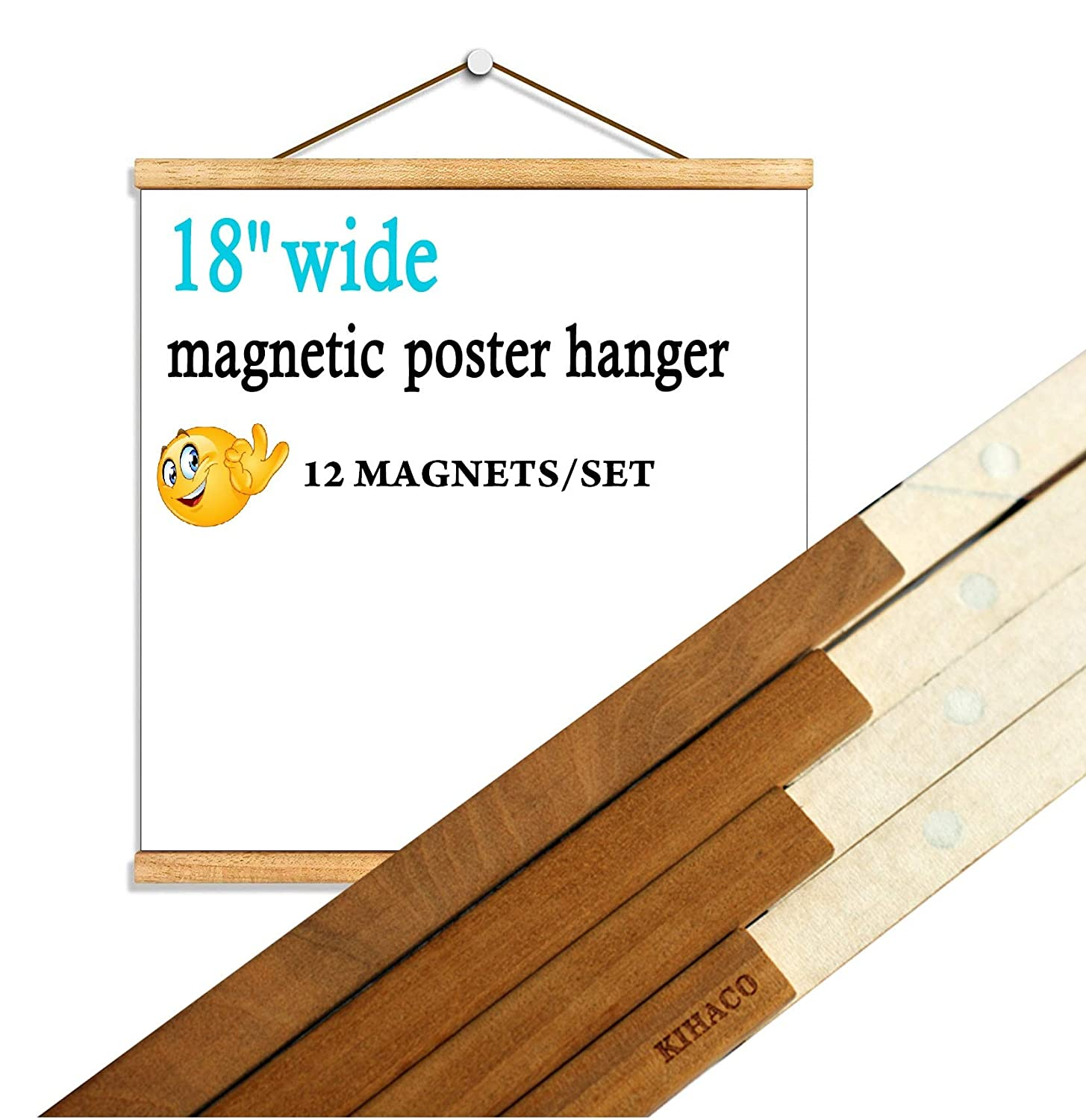 KIHACO Poster Frame 18x24 Magnetic Poster Hanger Wood Picture Frames 18 x 24 Inches Wall Picture Hangers Wooden Frame with Strong Magnet for Hanging Posters Artworks Pictures Prints Map Teak, 1 Set