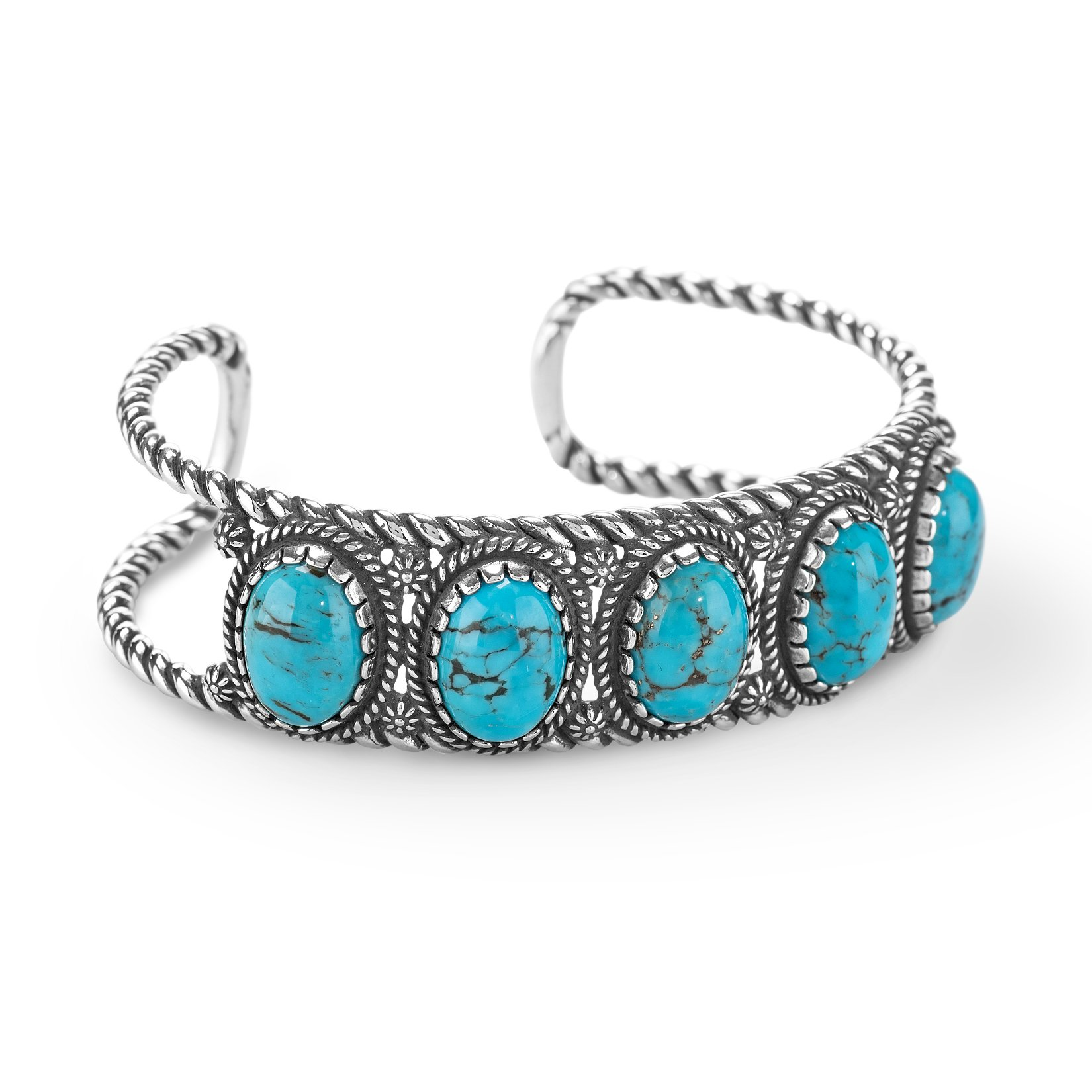 American West Five Stone Sterling Silver Turquoise Cuff Bracelet