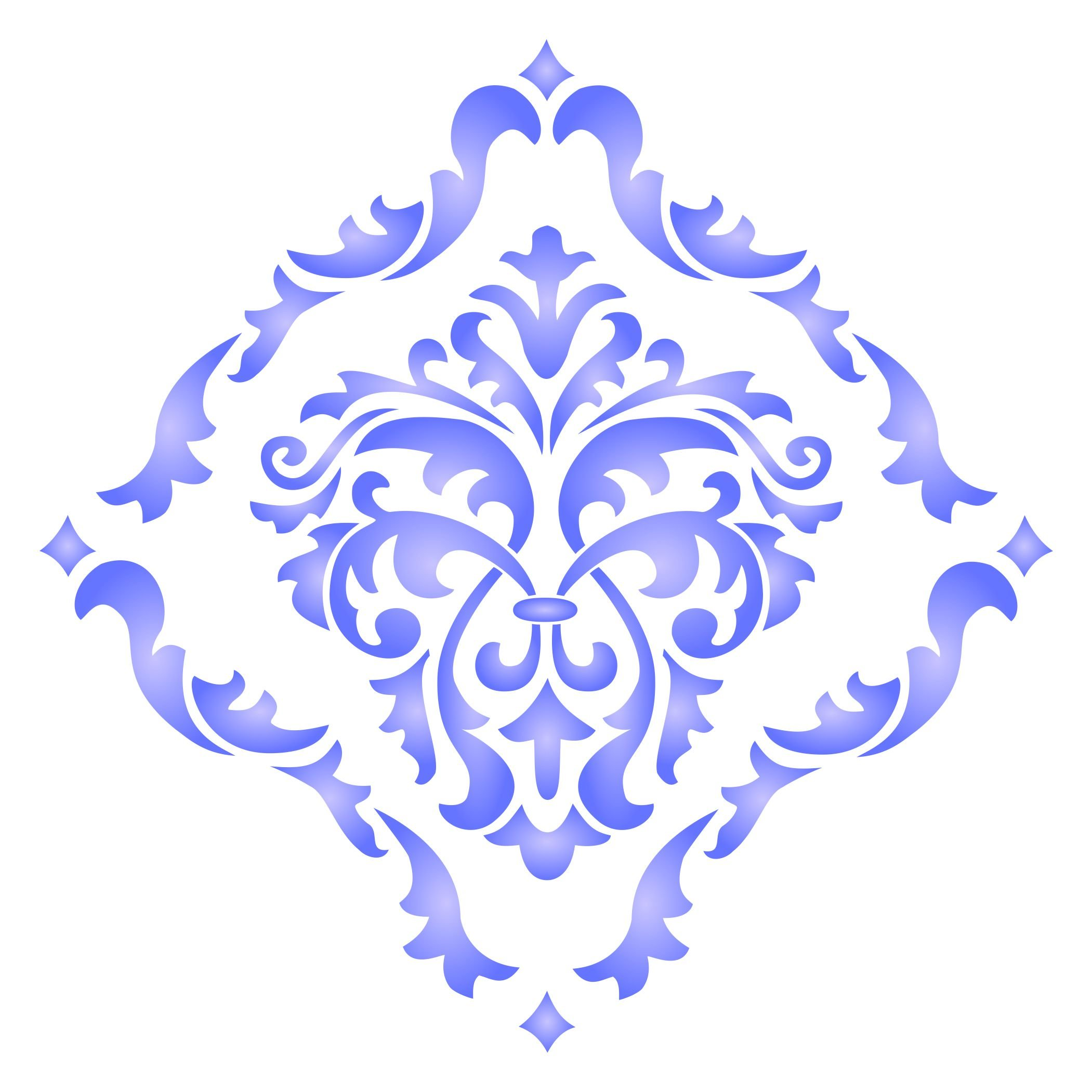 Damask Stencil - (size 14''w x 14''h) Reusable Wall Stencils for Painting - Best Quality Allover Wallpaper ideas - Use on Walls, Floors, Fabrics, Glass, Wood, Terracotta, and More...... by Stencils for Walls