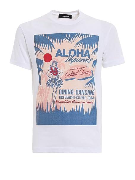 DSQUARED2 T-Shirt Bianca con Stampa Aloha S71GD0643S22507100 Bianco Uomo L 0cbd57e28f14