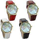 Jewelrywe orologio da polso retro vintage esfera mapamundi cinturino in pelle 4 colori disponibili, il regalo di Natale