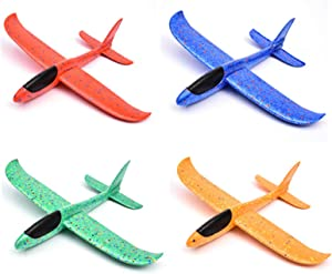 Airplane Toy, 4 Pack 17.5'' Glider Planes for Boys Foam Flying Airplane Kit Garden Yard Sports Playing