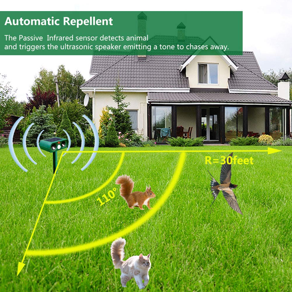 in Garden Yard Field Farm Solar Powered IPX4 Waterproof with motion sensor for Cats Dogs Birds Cat Fox Repellent Valid Range: 2425 Square Feet Foxes Ultrasonic Animal /& Pest Repeller