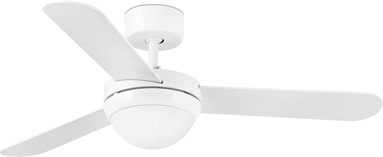 Faro Barcelona 33600 - FEROE Ventilador de techo con luz, 40W, cuerpo de acero/difusor de cristal/palas mad. arce/blanco, color blanco