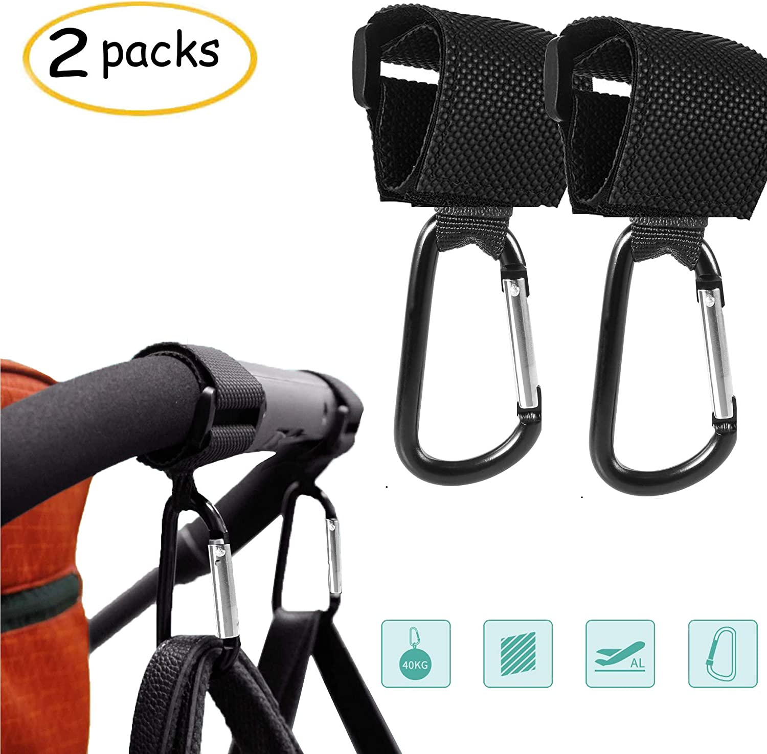 Multi-Purpose for Changing Bag Holder and Shopping Bag,4PCS HyAdierTech Buggy Clips Stroller Hooks Pram Pushchair Clips for Changing /&Shopping Bag Safely Shopping Secure Hooks,Universal Fit