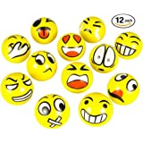 """3"""" Party Pack Emoji Stress Balls - Stress Reliver Party Favors, Toy Balls, Party Toys (12 Pack)"""