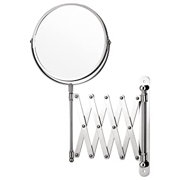 Top Home Solutions Magnifying Wall Mounted Makeup Mirror Extending Shaving Cosmetic Mirror Double Sided Bathroom Swivel