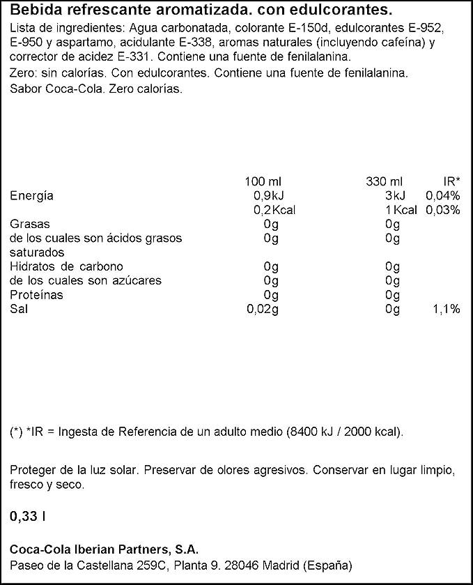 Coca Cola Zero refresco sin azúcar - 24 Latas de 33 cl: Amazon.es: Amazon Pantry