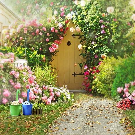 Primavera flores jardín fondos para boda romántico rosa rosas verde plantas al aire libre Scenic flores fondos fotografía: Amazon.es: Electrónica