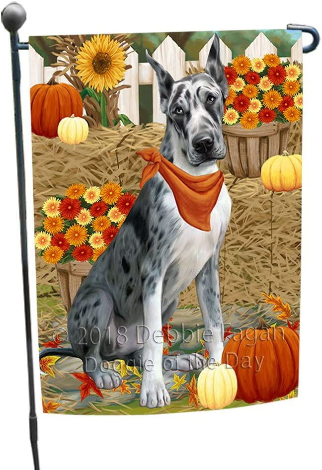 Fall Autumn Greeting Great Dane Dog with Pumpkins Garden Flag GFLG0638