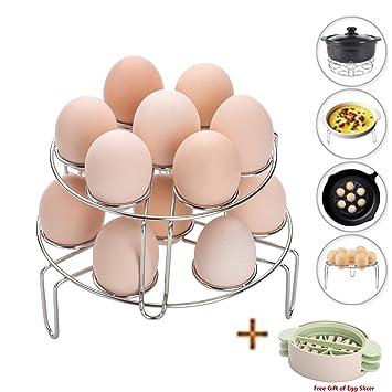 HUEVERA, huevos vaporera cocina apilable huevo Steamer rack soporte para huevos de acero inoxidable huevo