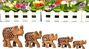 Indian Crafts idea Designer Wooden Elephant Family, Home Decor, Statue,The Elephant Indian Decor Jali Animal Statue, Wooden Jali Carving Elephant Showpiece: Indian Gift/Souvenir (Family Set of 5)