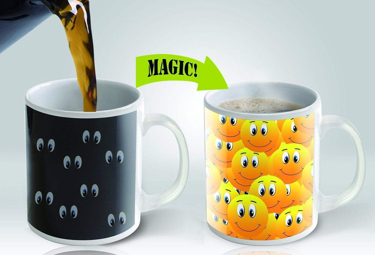 Magic Mugs | Amazing New Heat Sensitive Color Changing Coffee Mug , Good  Unique Gift Idea | Smiley Cup Design: Amazon.co.uk: Kitchen U0026 Home