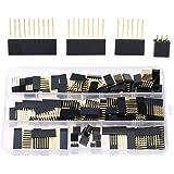 Hilitchi 110pcs 6/8 / 10 / Double Row 3-Pins 2.54mm Stackable Shield Header Assortment Kit