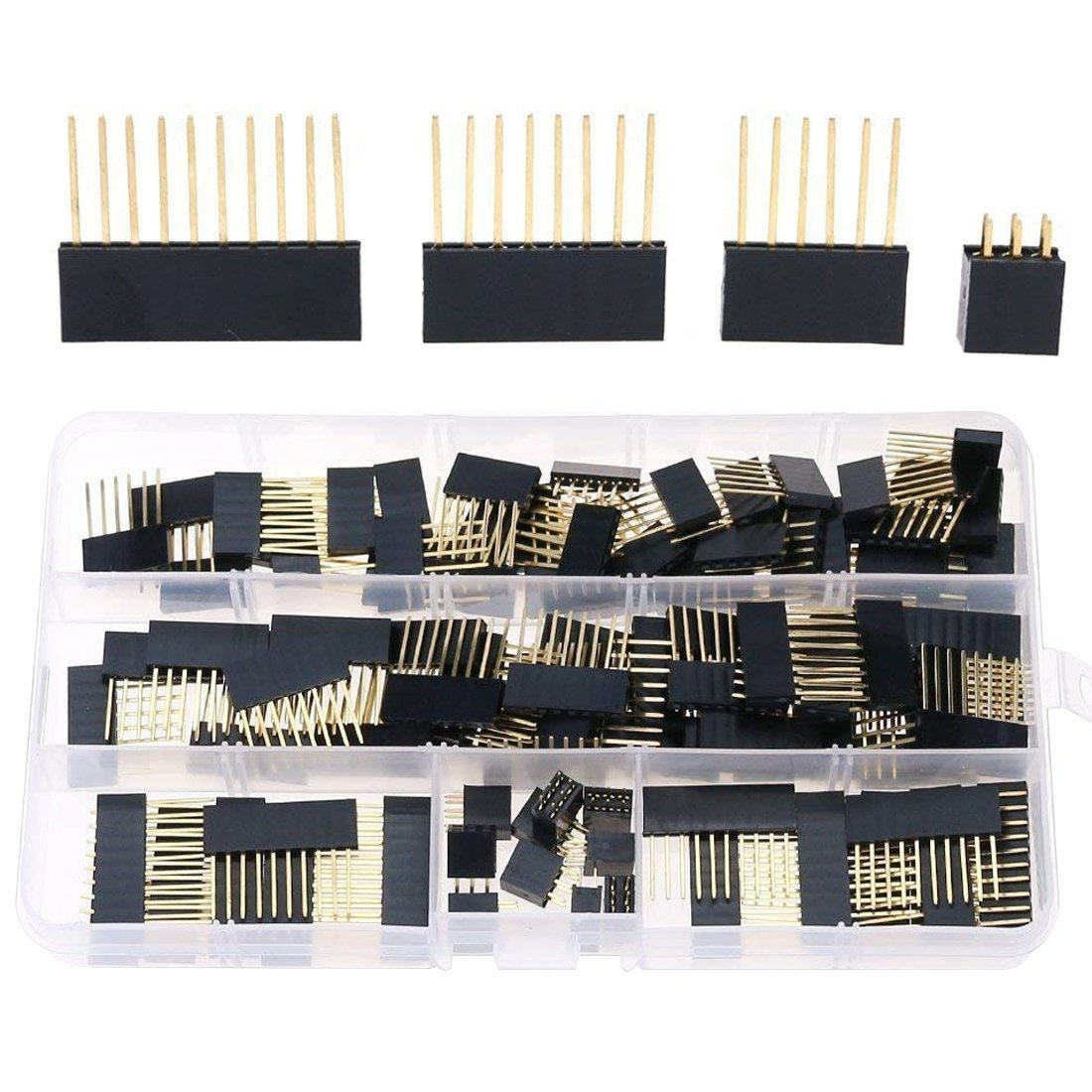 Hilitchi 110pcs 6 / 8 / 10 / Double Row 3-Pins 2 54mm Arduino Stackable  Shield Header Assortment Kit