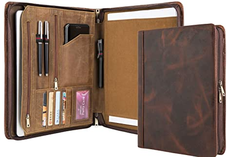 8c67cad9e169 Amazon.com : Handmade Vintage Leather Padfolio Portfolio Case ...