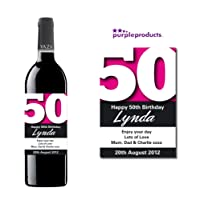 Personalised Pink 50th Birthday Wine Bottle Label Gift for Women and Men