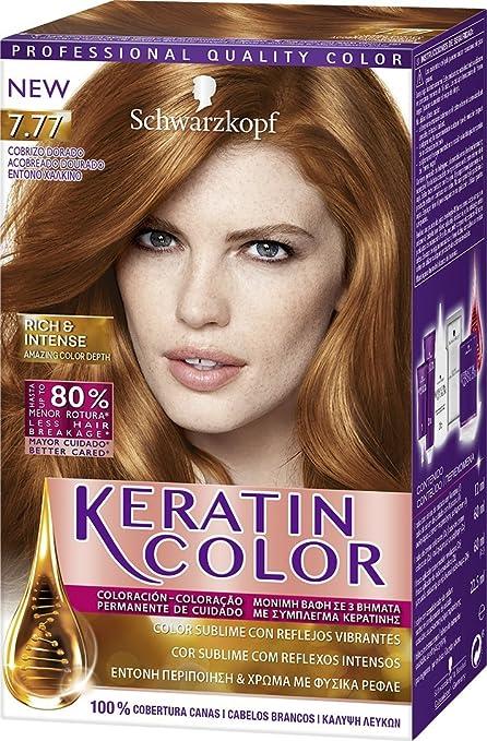 Keratin Color de Schwarzkopf, Tono 7.77 Cobrizo Dorado, Coloración Permanente