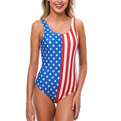 ALove Women American USA Flag One Piece Bathing Suit Striped Padded Swimsuit