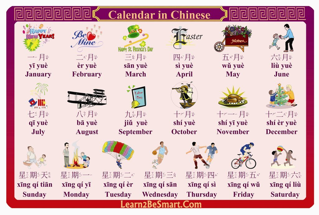 Amazoncom Calendar In Chinese Learning Placemat For Baby Kids