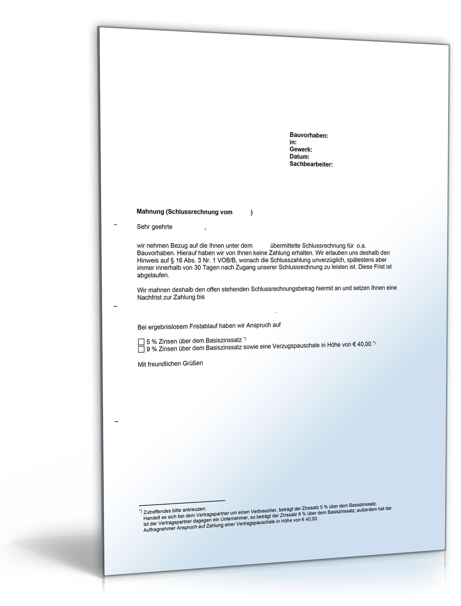 Mahnung Einer Schlusszahlung Vob Vertrag Word Dokument Amazon