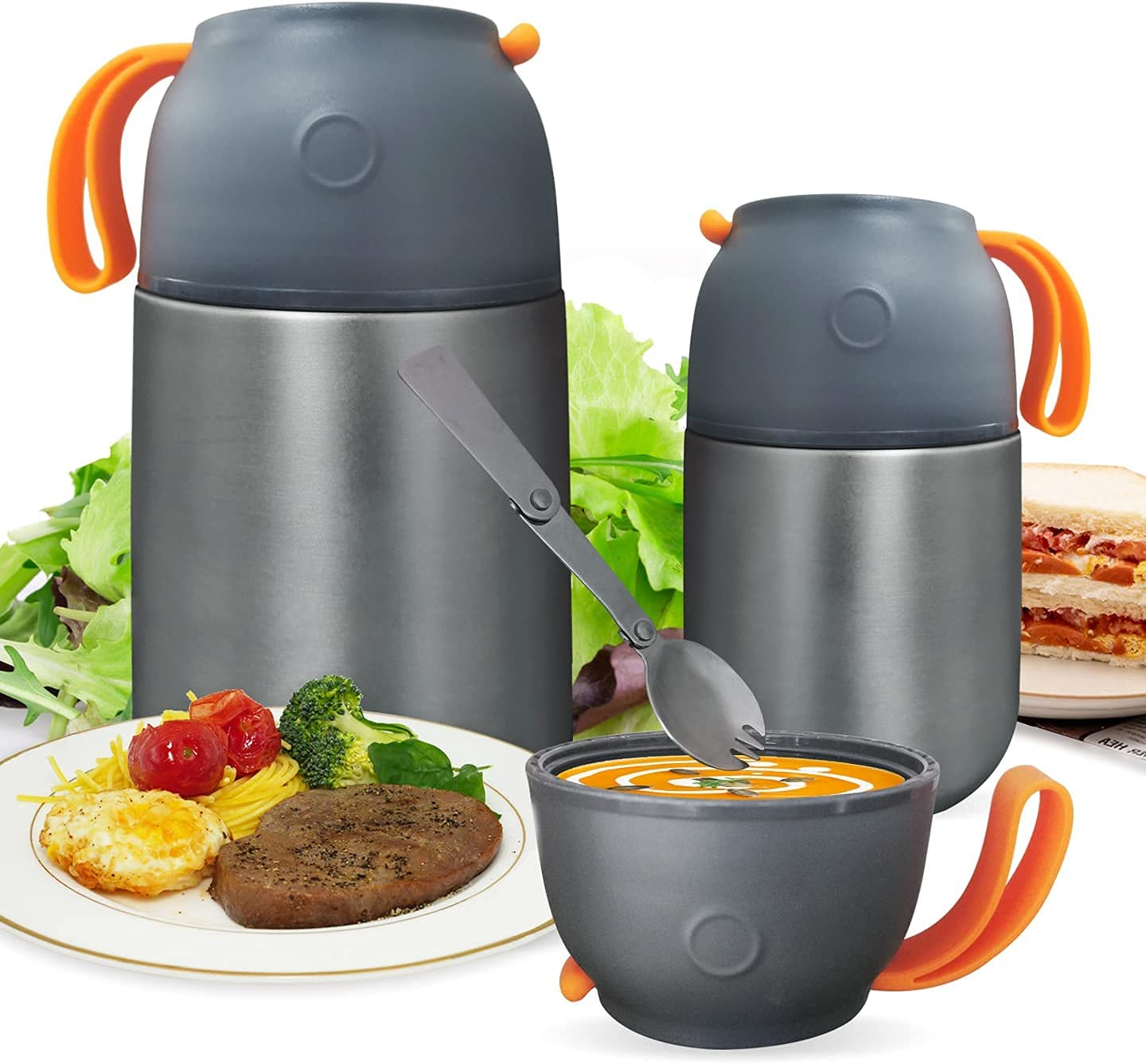 COMIN Vacuum Insulated Food Jar Hot Food Containers for Lunch Bento Box School Soup Thermos for Kids,Stainless Steel Food Thermos, Soup Bowl, Lunch Container, Grey (Silver, 450ML)