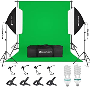 Yesker Softbox Photography Lighting Kit, 8.5x10ft Backdrop Stand Support System, 5500k Day Light Bulbs Continuous Lighting Equipment for Studio Photo Video Shooting with Carry Bag